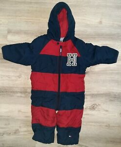 TOMMY HILFIGER BABY CLASSIC FULL BODY RED NAVY WARM BUNTING SIZE 18-24 MOS