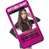 Personalised Phone Social Media Selfie Photo Frame Hen Stag Party Booth Prop