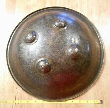 Antique Persian Copper Shield Dhal-Sipar 17th-18th Century Engraved Enameled