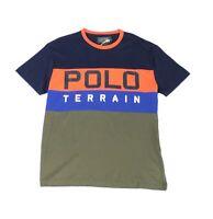 Polo Ralph Lauren Mens T-Shirt Blue Size Small S Colorblock Terrain Tee $49 #074