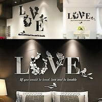 DIY Removable 3D Leaf LOVE Wall Sticker Art Vinyl Decals BedRoom Mural Decor