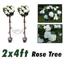 2 X 4Ft Artificial White Rose tree plants Ivy Wedding Home Garden Decoration