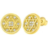 18k Gold Plated Jewish Star of David Clear Crystal Screw Back Earrings