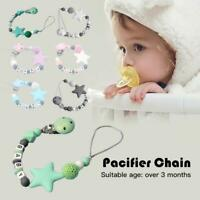 Baby Wooden Pacifier Clip Chain Holder Nipple Leash Strap Pacifier Soother W87