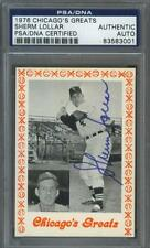 Sherm Lollar signed White Sox 1976 Chicago Greats baseball card Psa-Dna