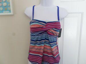 a.n.a Ikat Stripe Halter Tankini Swimsuit Top-Plus Size 20W New Msrp $52.00