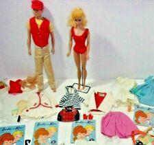 1960's Vintage Barbie & Ken Doll w/ Barbie & Homemade Clothes & Accessories Lot