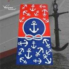 Strandtuch Badetuch Liegetuch Handtuch Maritim Ankerregen 75x150cm Blau Weiß Rot