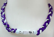 "New! 20"" Custom Clasp Braided Sports Purple White Tornado Necklace Twisted Neon"