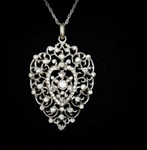 HEIRLOOM QUALITY!! Antique **FRENCH GEORGIAN**Jeweled STERLING Pendant Necklace