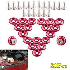 20Pcs JDM Red Aluminum Bumper Washeres Car Fender Engine Bay M6 Bolt Screw Set