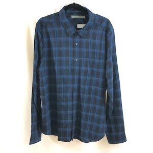 Icebreaker Mens Flannel Button Down Shirt Long Sleeve Plaid Wool Blend Blue XL