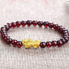 Pure 24K Yellow Gold Bracelet Women 14x6mm 3D Lucky Pixiu & Garnet Bracelet