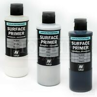 Vallejo 200ml Surface Primer White Grey Black Acrylic Model Air Brush Spray
