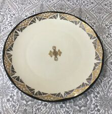 Antique Vintage RS Tillowitz Silesia Gold Flower w/Silver Mozaic Serving Plate