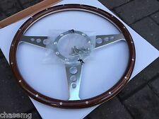 Woodrim steering wheel  flat 15 inch Medium wood 9 hole fix great quality item