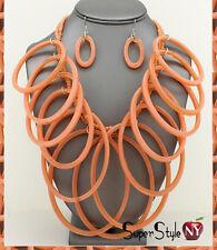 Long Oval Hoops Acrylic Design Bib Necklace Beaded Strand Fashion Earrings
