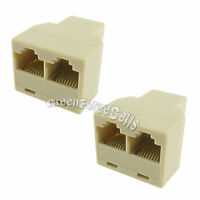 2 x RJ45 Cat5 Cat5e 3 Way LAN Network Cable Ethernet Splitter Connector Adaptor