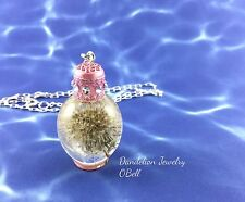 DANDELION PENDANT MINI PERFUME, DANDELION CASTED IN CLEAR RESIN, ARTISAN JEWELRY