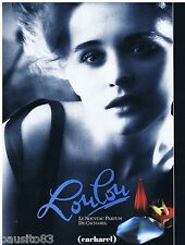 PUBLICITE ADVERTISING 105  1988  CACHAREL  parfum LOULOU