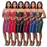 Womens Evening Cocktail Dresses Bodycon Midi Skirt Halter Clubwear Casual Slim