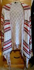 AMERICAN RAG CIE IVORY RED MULTI STRIPED FRINGE OPEN CARDIGAN SWEATER SIZE L
