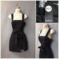 BNWT Boohoo Night Black Striped Double Breasted Mini Dress UK 8 EUR 36 US 4