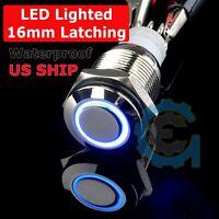16mm 12V Car Boat Blue Latching Led Angel Eye Light Push Metal Button Switch