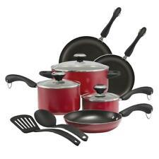11 Piece Non Stick Cookware Kitchen Set Red Dishwasher Safe Pots Pans Paula Dean