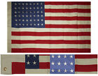 3x5 Embroidered 48 Star USA American Tea Stain Vintage 100% Cotton Flag 3'x5'