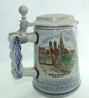 Bierkrug mit Zinndeckel / 0,5 Liter / München