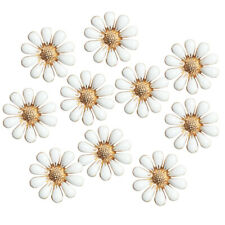 10x Daisy Flower Flatback Buttons Embellishment for DIY Phone Case 18mm