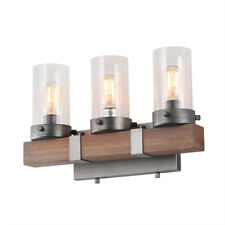 3-Light Rustic Wall Sconces Wood Wall Lighting Vanity Lights