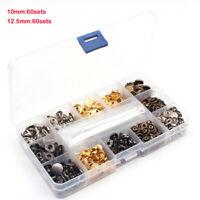 120pcs Metall Druckknopf mit Fastener Tool, Druckknopf, Knöpfe Leder Nieten Neu