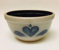 "8 1/2""Rim - Rowe Pottery Works Large Mixing Bowl Blue Heart Salt Glazed"