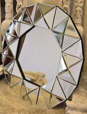 X Large Heavy All Glass Bevelled Sunburst Round 3D Geometric Mirror Wall Art