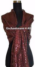 Elegant Oblong Lace Art Scarf Wrap w/ Sequins, Brown