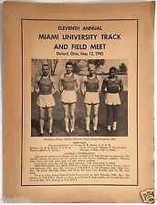 1945 MIAMI (OHIO) UNIVERSITY TRACK AND FIELD MEET PROGRAM - OXFORD