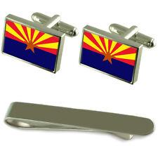Arizona Flag Silver Cufflinks Tie Clip Engraved Gift Set