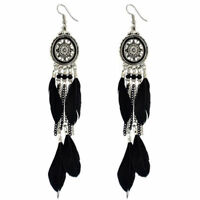 Silver Oval Earrings with Feather Tassels