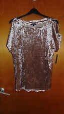 Cable & Gauge Velvet Boat Neck Cold Shoulder Plus Size Top 1X UK 20-22 Gold BNWT