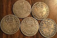 LOT OF 5 FOREIGN SILVER COINS