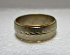 ESTATE 14K WHITE AND YELLOW 14K GOLD BAND RING 6.74 Grams Size 10