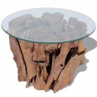 vidaXL Solid Teak Driftwood Coffee Table Glass Tabletop Living Room Side Tea