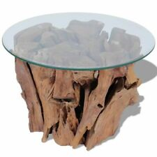 vidaXL Solid Teak Wood Coffee Side Table Living Room Tea Stand Glass Tabletop