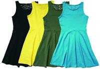 Girls Lace Back Insert Cotton Summer Skater Sun Dress (4 Colours) 9 to 16 Years