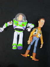"DISNEY PIXAR Toy Story Woody And 12"" Buzz Lightyear Talking Toys Figures Working"