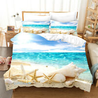 Sea Shell Beach Duvet Quilt Doona Cover Set Single/Double/Queen/King Bed Linen