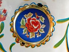 PREOWNED ROUND TAPESTRY & PLASTIC DOUBLE MIRROR COMPACT: FLORAL DESIGN