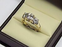2.00 Ct Round Cut 3 Stone Diamond Engagement Ring 14K Real Yellow Gold Size M N